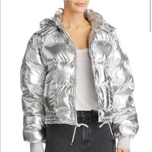 Shazia Metallic Hooded Puffer Jacket